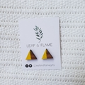 Wooden triangle earrings in yellow