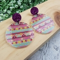 Easter Eggs -  Dangle Earrings - Acrylic - Purple Teal Pink Glitter