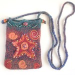 Unique embellished felt crossbody small bag/pouch/ phone pouch. Starfish/beach.