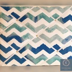 40cm x 50cm Blue Toned Chevron Memory Board
