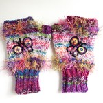 Colourful women's embellished knit fingerless gloves. Multi coloured. Butterfly.