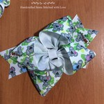 Koala print hairbow, Large Hairbow with lined clip on back