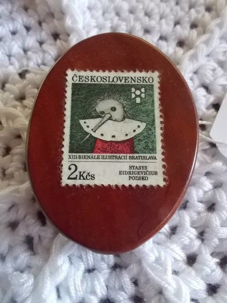 Brooch handcrafted from reclaimed hardwood and retro Czechoslovakian stamp.