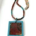 Natural BRECCIATED JASPER Intarsia Frame, Turquoise, Moss Agate ZEN Necklace.