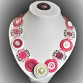 Pink and white button necklace -Spring Fling