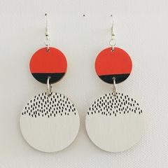 Hand Painted Wooden Black White Orange Circle Earrings