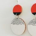 Hand Painted Wooden Black White Orange Circle Earrings