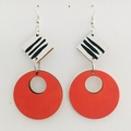 Hand Painted Wooden Black White Orange Rust Stripe Earrings
