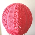 Toddler / Child's Lacy Beanie Hat, Hand-Knit, Wool, Pink
