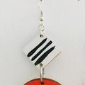 Hand Painted Wooden Black White Orange Rust Stripe Earrings