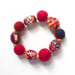Stretchy felt bead and hand painted wooden bead bracelet. Red and bright colours