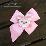 Easter Felt Bunny Face Hairbow, handmade hair clip, soft pink, FREE SHIPPING