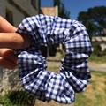 *Upcycled Blue Gingham Scrunchie