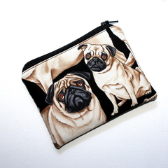 Small Coin Purse in Cute Pug Fabric