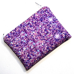 Small Coin Purse in Printed Purple Glitter Fabric