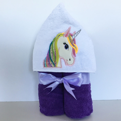 Unicorn Hooded Towel with Vinyl Embellishments, 100% cotton
