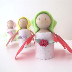 4 Flower Fairy Peg Dolls