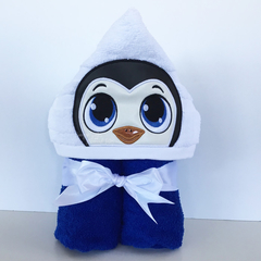Penguin Hooded Towel with Vinyl Embellishment, 100% Cotton