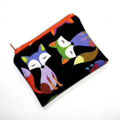 Small Coin Purse in Colourful Fox Fabric