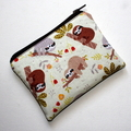 Small Coin Purse in Cute Sloth Fabric