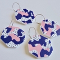 Arty Pink and Blue  Large Statement Earrings