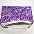 Small Coin Purse in Printed Purple Glitter Fabric