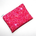 Small Coin Purse in Printed Pink Glitter Fabric