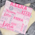 Personalised Baby Name Blanket - light pink/light gre colour (COT SIZE)