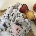 Reusable produce bags - rabbit design set of two- plastic free eco friendly