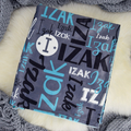 Personalised Baby Name Blanket - dark grey/aqua colour (COT SIZE)