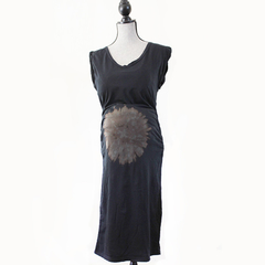Black Stretch Maternity Dress w/ Hand Bleached Sunburst on Belly