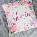 Protea Personalised Name/Text Cushion 50x50cm