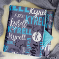 Personalised Baby Name Blanket - dark grey/aqua colour (THROW SIZE)