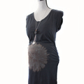 Black Stretch Maternity Dress w/ Hand Bleached Sunburst on Belly