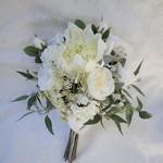 Australian Native Silk Bridal Bouquet - Waratah Gum Nuts Roses Eucalyptus