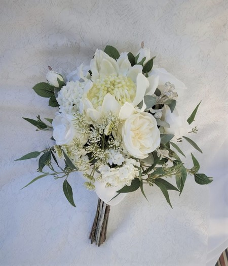 Australian Native Silk Bridal Bouquet - Waratah Gum Nuts Roses Eucalyptus