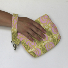Wristlet clutch makeup bag- Pink and green pleated