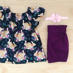 Size 000-2 - Smock Top -Navy - Easter - Peasant Top - Floral - Girls