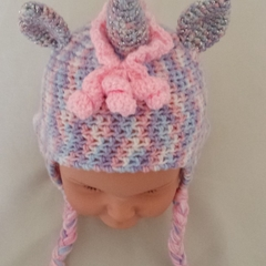 Unicorn earflap hat, beanie. Pinks or variegated. Hand made crochet. Child 2-3yr