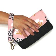 Pink floral and denim clutch wristlet bag