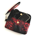 Red and black sateen embossed fabric ladies clutch wristlet bag