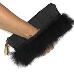 Black feather ladies clutch bag