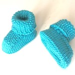 3-6m Baby Booties Shoes, Aqua Marine, Wool, Hand Knit