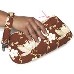 Copper floral ladies clutch wristlet bag