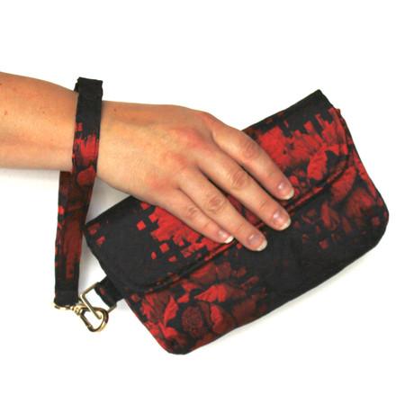 Red and black sateen embossed fabric ladies clutch wristlet bag