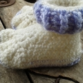 crochet baby boots. Acrylic in mauve and white. To fit foot length 12-13cm