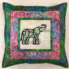 Batik cushion cover - Elephant green