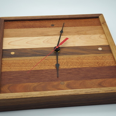 Multi Wood Species Side Grain Square framed Clock