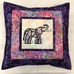 Batik cushion cover - Elephant purple