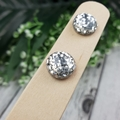 Silver Glitter Pops - Button Stud Earrings - Glass Dome